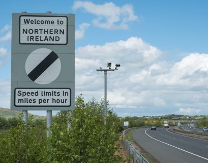 Republic of Ireland and Northern Ireland border sign on M1 motorway. Ireland. May 2017